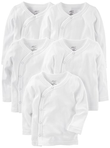 Simple Joys por Carter's Baby 5-Pack Side-Snap, Camisa de Manga Larga para bebé, Blanco, 3-6 Months
