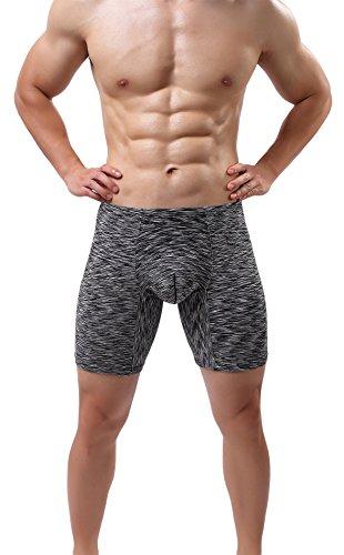 Men's No Ride Up Underwear Seamless Boxer Briefs Performance Sexy Comfort Undies Black XL