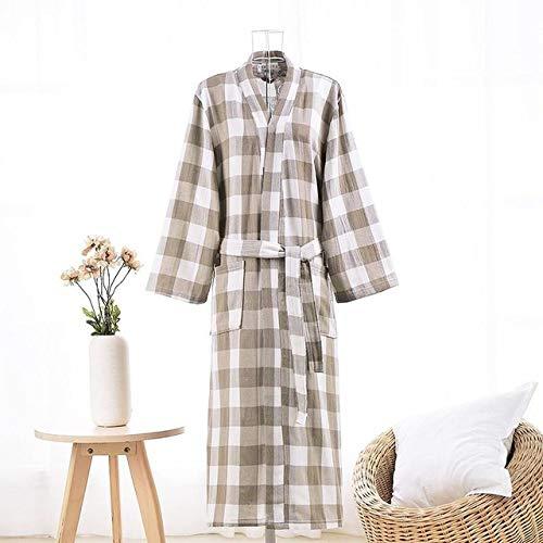 JBDGNZ Albornoz de Mujer,Bata de Kimono de algodón, Ropa de Dormir de Manga Larga a Cuadros, Bata de baño Femenina, lencería íntima, Ropa de Dormir de Doble Capa, marrón B, L