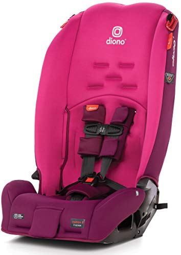 Diono Radian 3R, 3-in-1 Convertible Rear and Forward Facing Convertible Car Seat, High-Back Booster, 10 Years 1 Car Seat, Slim Design - Fits 3 Across, Pink Blossom