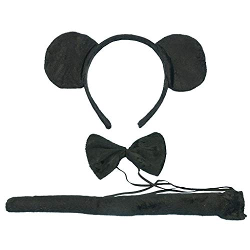 Tumao 3 piezas Diadema de Mouse Orejas, con Corbata y Cola Negro para Regalos de Nios & Adultos Accesorios de ropa cosplay