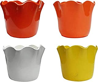 Airex Daisy Pots (Pack of 4) Plant Container (Plastic, External Height - 8 cm)