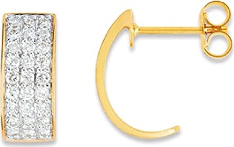 Ondine–Ohrringe–Gold Zweifarbig 375 00und Zirkonia–www.diamants.perles