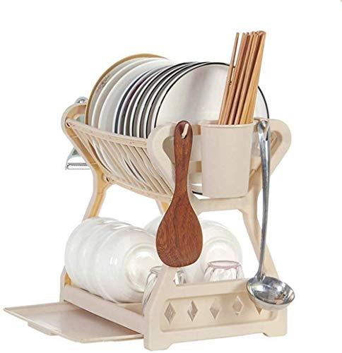 Dish Drainer, Spüle Rack, Küche Sideboard Organizer Essstäbchen Sammlung Box Drainage Schüssel Rack Doppeldeck Küche Schüssel Rack Kunststoff Schrank