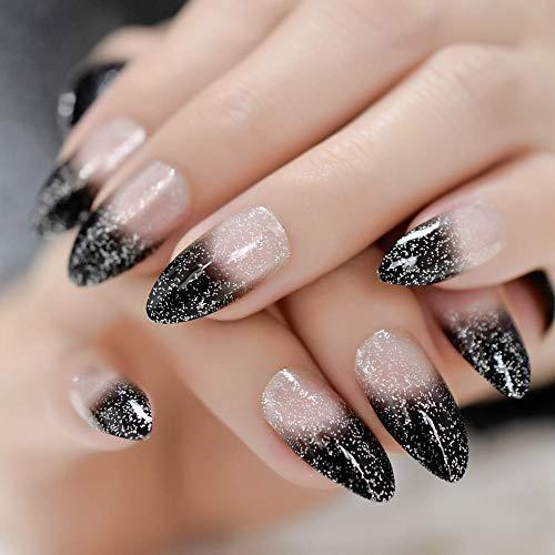Rpbll Coffin Medium Glitter Nails Coal Black Silver Powder Translucent Shiny Fake Nails Pre-Designed Fashion Style Finger Nails-L5108