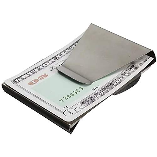 EDC Tool Money Clip Wallet Credit Card Holder Slim Stainless Steel Double Sided - Silver EDC for Men