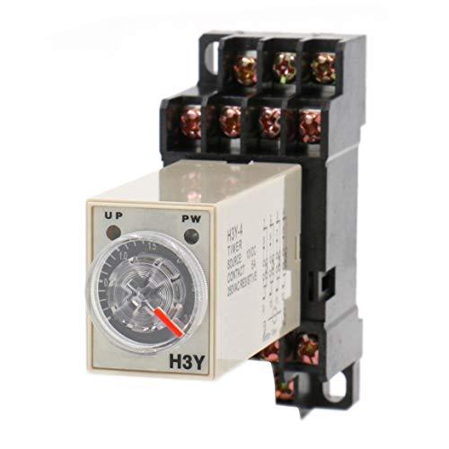 Heschen Relé de retardo H3Y-4 220 VAC 0-30 Second 250 VAC 5 A 14 Pin Terminal 4PDT con DYF14 35 mm DIN Base de llaves de vaso