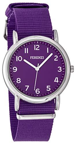 FERENZI Unisex Uhr | Digital Quarz Gut Lesbare Uhr 38mm Gehäuse Ton in Ton mit Gewebe Armband Lila | FZ20103
