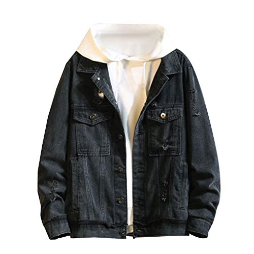 Buy Discount Gleamfut Men's Casual Denim Coat, Plus Size Solid Wild Long Sleeve Denim Coat Jacket