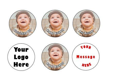 Goggly 35 x Pre Cut personalisiertes Foto / Ihr Logo Cupcake Toppers essbare Wafer Papier