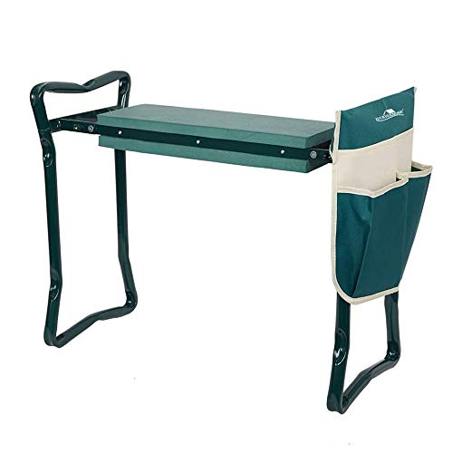 LUCKYERMORE Folding Garden Kneeler and Seat Garden Bench Lightweight Garden Stools with Tool Pouch and Soft Kneeling Pad