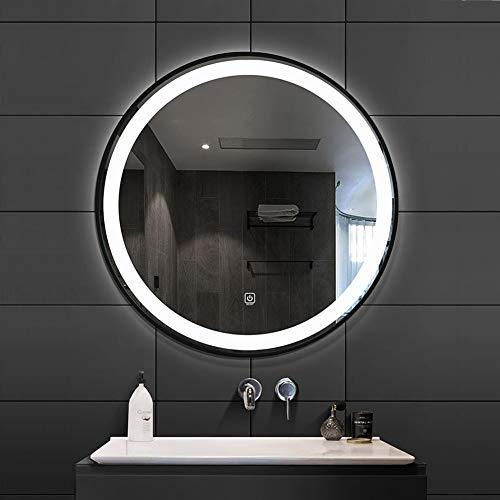 Djz Runder Spiegel, Badezimmer HD Spiegel mit LED Beleuchtung Schwarzer Metallrand, Eingangsdekorativer Spiegel Ø50cm / 60cm / 70cm