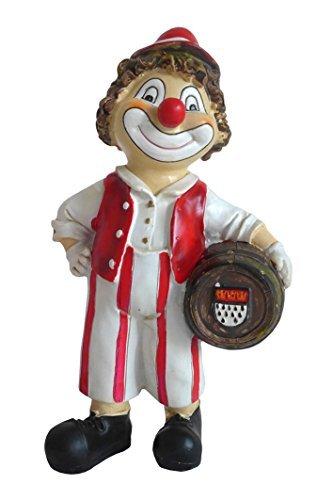 N / A Fröhlicher Clown mit Kölsch Fass unter dem Arm 17 cm Kölner Wappen Dekofigur Figur Karneval Köln