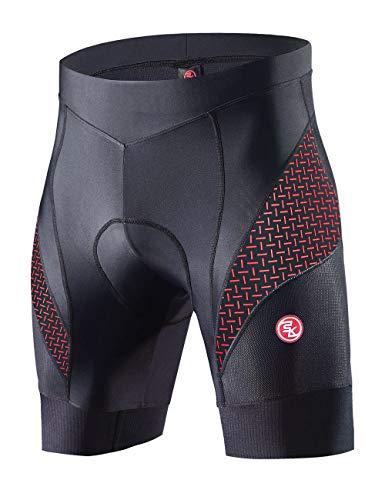 Souke Sports Pantaloncini Ciclismo Uomo,Pantaloncini da Bicicletta Imbottiti 4D,Calzoncini Ciclista,Pantaloncino Spinning,Pantaloncini Fondello MTB,Traspiranti,Asciugatura Rapida (Red/M)