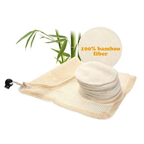 Renquen Lot de 6 paquets de 2 couches en coton biologique avec sac à linge, chiffon doux lavable pour le visage et le maquillage des yeux