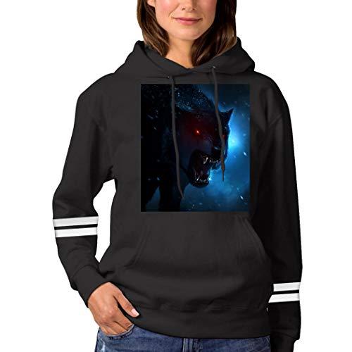 Dark Evil Wolf Eyes Sweatshirt 3D Print Hooded Sweatshirt Funny Pullover Tops Fall Winter for Women Black XXL