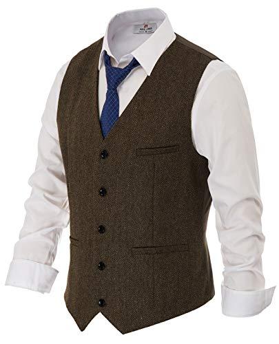 Men's Vintage Irish Wool Suit Vest Button Down Suit Vest Waistcoat Size L Coffee