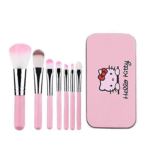 Pincel de maquillaje HelloKitty Set de pinceles de maquillaje Cute dibujos animados coreano caja de hierro set de pinceles de belleza de 7 piezas