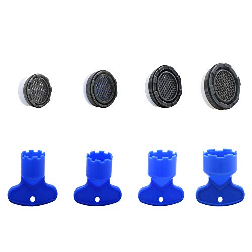 Faucet Replacement Aerator With Remove Key Wrench, Faucet Flow Restrictor Including 4 Sizes M16.5, M18.5, M21.5, M24