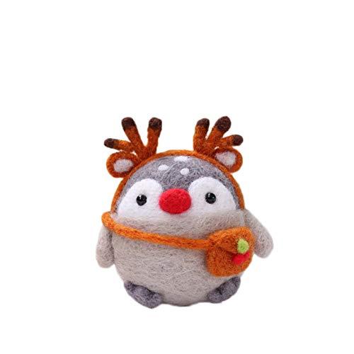 Grafts - Juego de pingüinos con forma de animales y manecillos de lana, paquete de material de fieltro, juego de fieltro de lana, kit artesanal