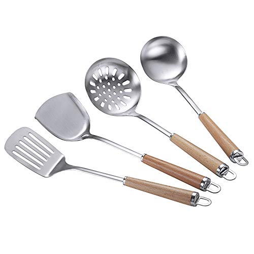 Stainless Steel Spatula Ladle Set,Strainer Ladle,Kitchen Cooking Utensil Set with Wooden Handle,4Pcs