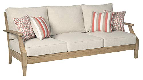 Clare View Sofa with Cushion - Eucalyptus Wood Frame - Beige