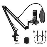 LIFEBEE Micrófono de Condensador USB, Profesional Micrófono Grabación Patrón Polar Cardioide con soporte de micrófono Brazo de tijera para Grabar Música y Video Podcast Transmisión en Vivo Juegos