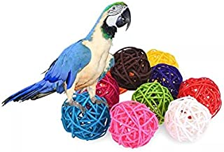 Stock Show 10Pcs/Pack 1.57 Rattan Balls Bird Chew Toy DIY Accessories Toy for Parrot Budgie Parakeet Cockatiel Conure Lovebird Finch Macaw African Grey Cockatoo(Color Assorted)