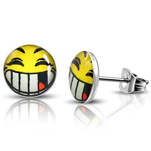Bungsa Smiley Emoji Ohrstecker silber 7mm - 1 Paar Edelstahl (Ohrringe Ohrschmuck Ohrklemmen Damen Frauen Herren Mode Studs Earrings)