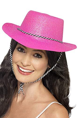 Smiffy's-24185 Sombrero de Vaquero con Brillantina, con cordón, Color Rosa neón, Tamaño único (24185)