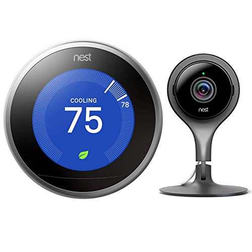 Google Nest Learning Smart Thermostat - 3rd Generation - Stainless Steel T3007ES Bundle with Nest Cam Indoor Smart Security Video Camera NC1102ES
