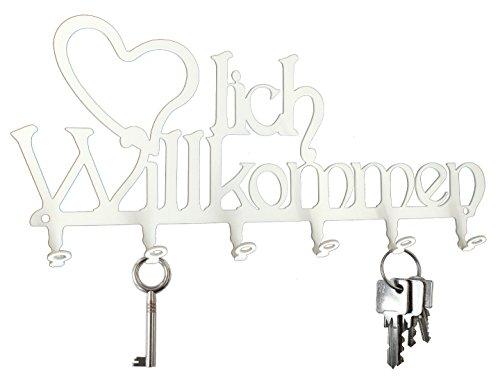 Schlüsselbrett ** Herzlich Willkommen ** Hakenleiste -- Stahl (weiß)