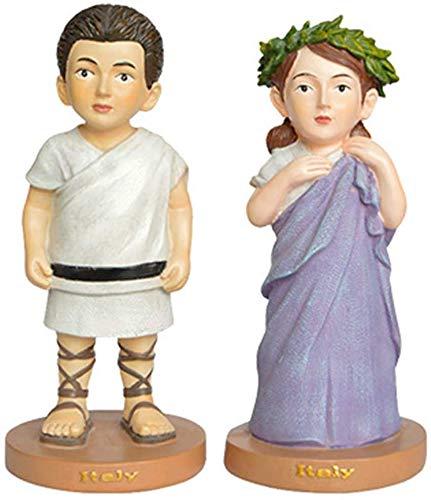 Beeldhouwkunst/kunstwerken, kunstharsen, liefdespaarsculpturen, Italiaans nationaal kostuum, miniatuurbureaus kleine sieraden, geschenken(6.8 X 6.8 X 15 Cm)
