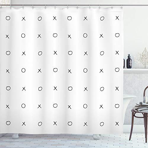 XO Decor cortina de ducha por Ambesonne, hechos a mano de Cruz patrón de cero–Juego Tic Tac Toe en Negro y Blanco colores, tela Set de decoración de baño con ganchos, color blanco y negro