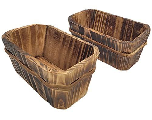 Fioriera in legno per esterni, confezione da 2 vasi naturali da giardino rustici | decorazione barche da balcone, terrazza, casa | regalo originale fatto a mano