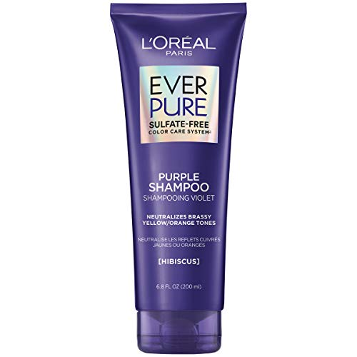 L'Oreal Paris EverPure Sulfate Free Brass Toning Purple Shampoo for Blonde, Bleached, Silver, or Brown Highlighted Hair, 6.8 Fl; Oz (Packaging May Vary)