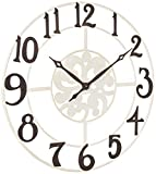 Household Essentials Large Oversized Metal Vintage Clock Wall Decor, White Frame with Black Numbers