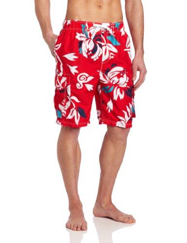 Kanu Surf Men's Barracuda Swim Trunks (Regular & Extended Sizes), Oahu Red, Large