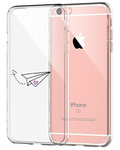 AIsoar ® Coque iPhone 6,iPhone 6s Case, Transparente Ultra Mince Silicone Antichoc Housse TPU de Protection arrière Résistant aux Rayures Chiot Couverture (Avion en Papier)
