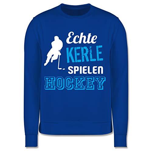 Sport Kind - Echte Kerle Spielen Hockey - 140 (9/11 Jahre) - Royalblau - Spruch - JH030K - Kinder Pullover