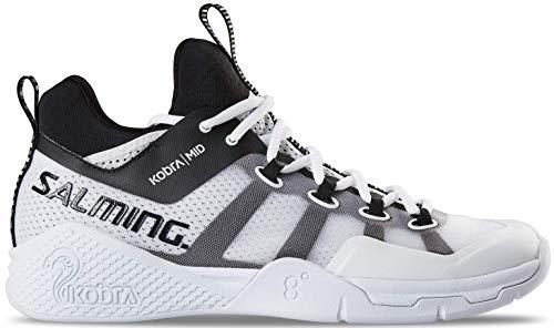Salming Men's Kobra Mid 2 Squash Indoor Court Sports Shoes, White/Black, 8.5