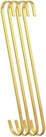 shopping RuiLing 4-Pack 12 Inch Steel Hanging Houston Mall - Flat Chrome Hooks Gold Fi