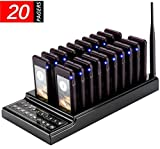 20 Channels Guest Paging System -107dBm High Sensitivity Wireless Queue Calling System 3 Indication Modes with 20pcs Coaster Pagers and 1pc Call Button Keypad Transmitter for Restaurant Clinic Church