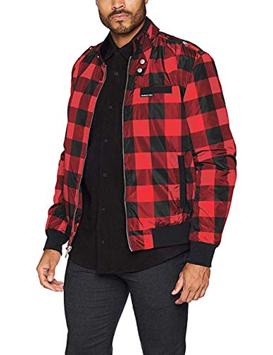 Members Only Men's Cold Weather Original Iconic Racer Jacket, red Buffalo Check, S