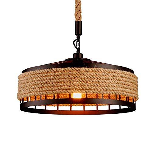 E27 Lámpara De Suspensión Lámpara Colgante Retro Lámpara De Suspensión Con Forma De Lámpara Colgante En Cuerda De Cáñamo Lámpara Colgante Industrial Vintage 40 Cm