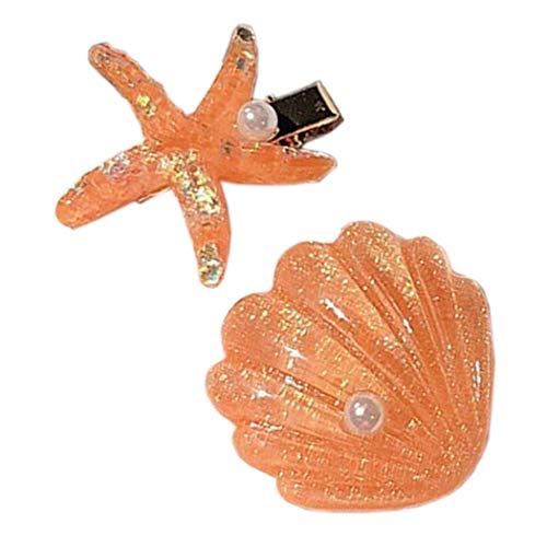 Patiky Womens Girl Starfish Clips Natural Starfish Hairpin Star Hair Headwear Accessories 2 Pack TS02 (Orange Shell Starfish)