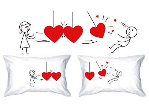 Human Touch - Amor DE Velocidad - De El y de Ellas - Fundas de Almohada romántica Peculiar, Regalo de Boda, Regalo de San Valentín, o Simplemente para elevar una Sonrisa.