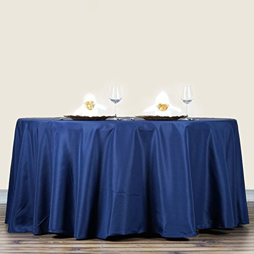 LinenTablecloth 70-Inch Round Polyester Tablecloth Navy Blue