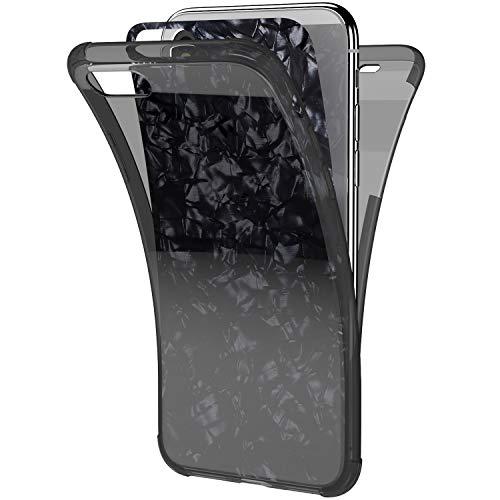 Ysimee Coque Compatible pour Huawei Y5 2018 360 Degrés Étui en Transparente Silicone Double Face Couverture Protection Complète Avant et Arrière Antichoc Bumper Ultra Slim Housse Motif Coquillage,Noir