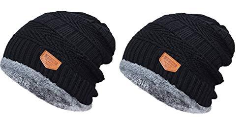 HUNTSMANS ERA Soft Windproof Woolen Winter Cap for Men and Women/Woolen caps (Black 2 Quantity)